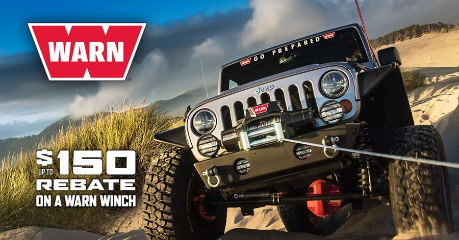 Warn Industries Consumer Rebate Program for Truck, Jeep and SUV Winches, and Powersports Winches and Plows