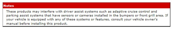 Note About Drivers Assist Systems