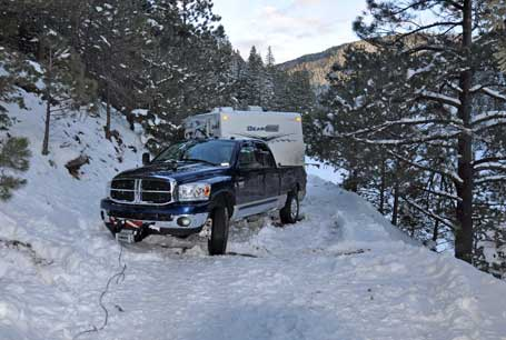 Brian's Dodge Ram after being pulled with his WARN VR10000 winch.