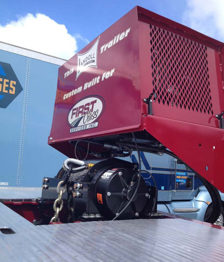 WARN Series 20XL winch on Landoll trailer at the 2013 Mid America Truck Show