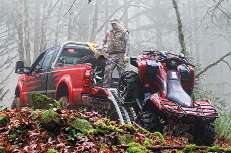 WARN Camo PullzAll pulling an ATV into a pickup truck