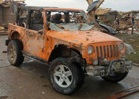 Stomper, a damaged Jeep Wrangler Rubicon