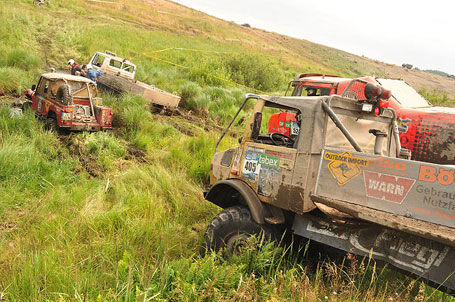 Unimog and other vehicles in the swamps at the Breslau Rally